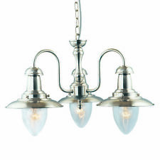Searchlight Lighting 5333-3ss Fisherman Satin Silver 3 Light Pendant