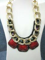 "Vintage Felt Back Gold Tone Necklace Red & Black Faceted Beads Rhinestones 16"""