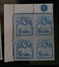 ST. HELENA 1922 KGV 3d SG 101 101a block 4 w/ broken mainmast plate 1 margin MNH