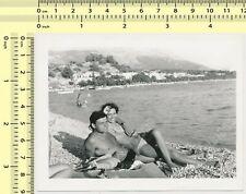 Couple on Beach, Handsome Shirtless Man Smoking Cigarette Smoke Woman old photo