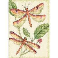 """Dragonfly Duo Mini Counted Cross Stitch Kit 5""""X7"""" 14 Count 088677650292"""