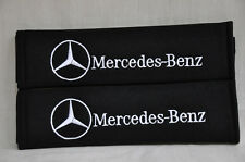 Black Mercedes Benz Plush Seat Belt Cover Shoulder Pad Cushion Pair