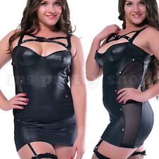 Plus Size Black Faux Leather Wet Look Suspenders Studded Bustier Mini Dress