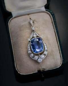 "Vintage 18K White Gold Over Blue Sapphire & Diamond Pendant 18"" Chain Necklace"