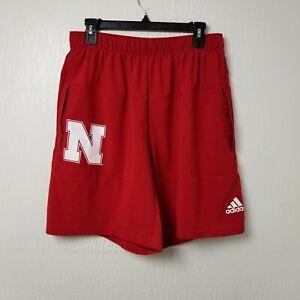 Adidas Nebraska Cornhuskers Mens Basketball Shorts Large L Red White Athletic