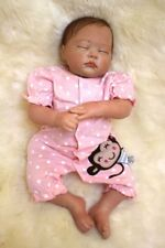 20'' Reborn Baby Dolls Lifelike Sleeping Vinyl Silicone Girl Doll Rooted Mohair