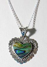 "925 St Silver heart pendant + 18"" chain, Abalone heart"