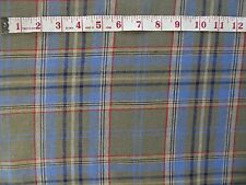 "Khaki Green & Blue Check Tartan Plaid Fabric Material Linen 51"" wide by Metre"