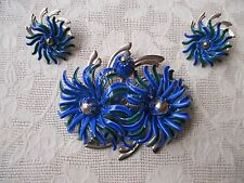 Vintage Beaujewels Enameled Demi-Parure Flower Brooch Pin & Earrings Beau Jewels