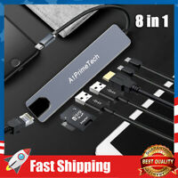 8 in 1 USB Type C Adapter to USB-C 4K HDMI Adapter USB 3.0 Cable Hub For Macbook