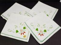 Vintage B.L.I. Linen Floral Applique Napkins Green White Orange 70's Set of 4