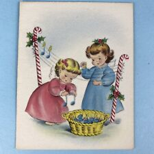 "Norcross Signature 1940s "" Christmas Notes"" Angels Christmas Card Vintage Unused"