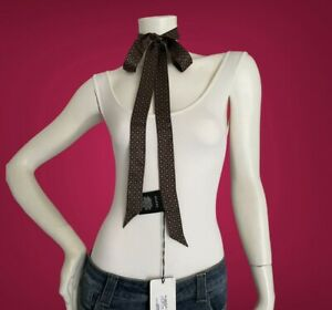 NWT Authentic Gucci Silk Brown Sky Blue Women Neck Bow Skinny Tie