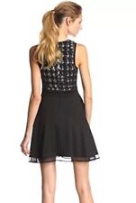 NWT  Trina Turk Trina Woman Dress SZM Black With Mesh Stretch Checkered Beauty!