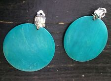 Large CLIP ON Organic wood  earrings. Very pretty rich turqouise COLOR