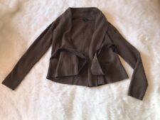 Theory Brown Carmina Cardigan Drape Sweater Cashmere Wool Blend Suede Belt Sz XS
