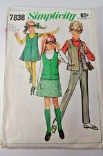 Cute Vintage 1968 Simplicity Sewing Pattern 7838 - Girl's Skirt Pants Size 7