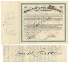San Francisco & San Joaquin Railway Company Stock Signed by Joseph Britton