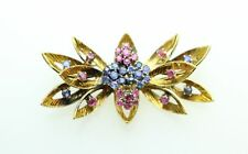 Grams Amazing Detail Free Shipping Brooch 18K Gold Ruby & Sapphire Pin 10.4