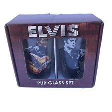 Set of 2 Elvis Presley 16 Oz Pub Drinking Glasses Tumblers- NEW Opened Box