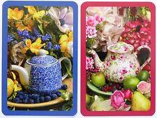PAIR SWAP CARDS. PORCELAIN TEAPOTS FLOWERS & FRUIT 'AFTERNOON TEA' PIATNIK. MINT
