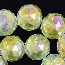 "30mm faceted crystal round beads 8"" strand yellow"