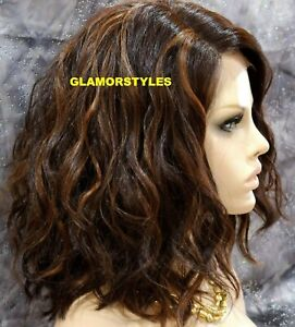 HUMAN HAIR BLEND LACE FRONT FULL WIG BOB WAVY LAYERED BROWN AUBURN MIX HAIRPIECE