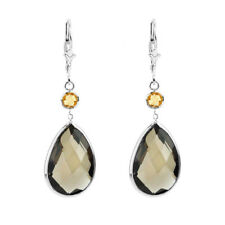 14K White Gold Earrings with Pear Shape Smoky Topaz and Round Citrine Drop