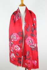 $38 New Collection Eighteen 18 Scarf Floral Wrap Shawl Scarlet Red Roses Flowers