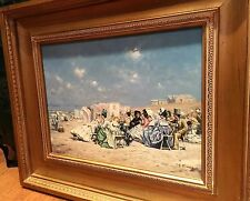 OIL PAINTING Mid 20th Century Old fashioned beach scene in a GOLD GILT FRAME
