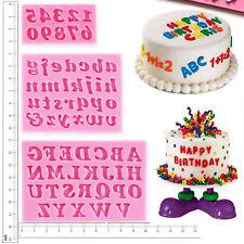 3 PEZZI SILICONE ALFABETO NUMERO LETTERE RIPIENO stampo torta di compleanno
