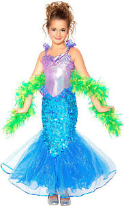 Mermaid With Boa Girls Child Mythical Creature Halloween Costume