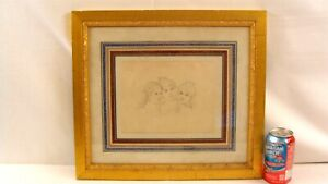 Antique 19C Pencil Portrait Drawing of Three Sisters