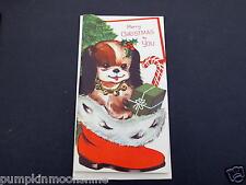 #H801- Vintage Unused Die Cut Xmas Greeting Card Adorable Puppy in Stocking