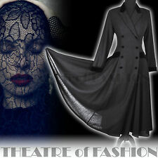 VINTAGE LAURA ASHLEY RIDING COAT 14 DRESS VICTORIAN EDWARDIAN 40s MISTRESS VAMP