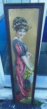 ANTIQUE VICTORAIN LADY YELLOW FLOWER ROSES YARDLONG CHROMO PRINT ORIGINAL PRETTY