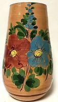 "Vintage 10.5"" Studio Pottery Flower Vase Artist Signed Hand-Painted"