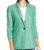 NWT Halogen Women's Ruched Sleeve Blazer Green Size XL