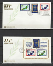 Nations Unies New York & San Francisco 2 FDC tampon à date 1970 /B5Nd