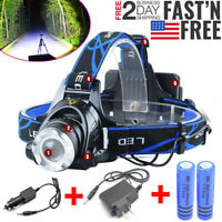 990000LM Rechargeable Headlight LED Tactical Headlamp Zoom Torch Lamp Flashlight