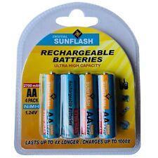 Digital Sunflash Rechargeable AA NiMH Batteries 2700 mAh 1.24V, 4ct