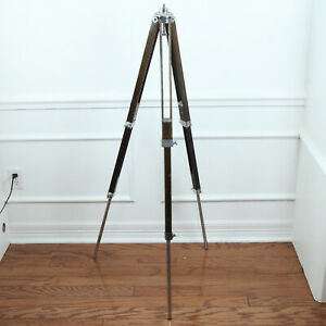 "Antique Vintage Stanrite Wood Tripod 23"" - 55"" Adjustable Telescope Lamp Project"