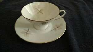 6 Rosenthal Shadow Rose tea cups with plates Black/Brown Rose Center gothic