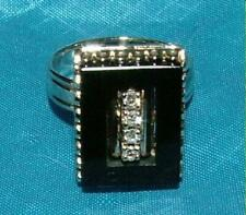 14K Yellow Gold Onyx and Diamonds Ring  Size 8