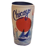 STARBUCKS 2016 Chicago Been There Travel Mug Tumbler Cup Lid White Ceramic 12 oz