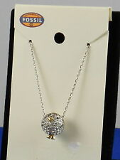 Fossil Brand Glitz Silvertone Party Animals Pave' Penguin Charm Necklace JA6223
