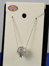 Fossil Brand Glitz Silvertone Party Animals Pave' Penguin Charm Necklace JA6223