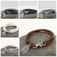 HOT Wrap Braided Wristband Cuff Punk Men Women Bracelet Bangle Leather Jewelry