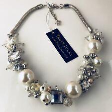 UK Ladies Luxury Designer Bridal Pearl And Diamante Chunky Necklace Jewellery