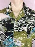 Sean John Waves Palm Trees Beach Hawaiian Tropical Button Up Shirt Leaves Camp